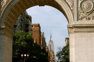 Empire State Building Seen Through Washington Square Arch